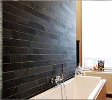 Black Slate Bathroom Tiles Strip Bath Wall Cladding