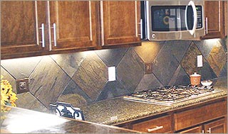 Stunning Slate Stone Kitchen Blacksplash With Slate Backsplash