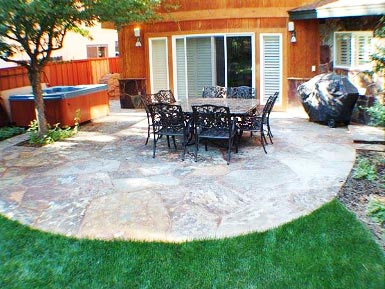 Stone Patio Design Ideas backyard patio paver design ideas Circular Slate Patio Design