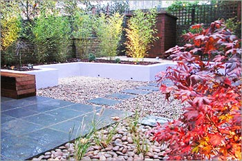 Garden Design with Slate Tiles and Pebbles