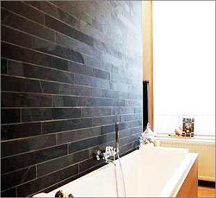 Black Wall Cladding with slate Strips