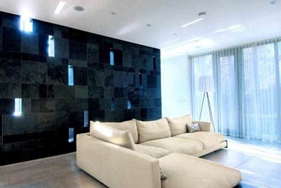Interior Landscaping with Slate Tiles Wall
