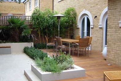 Patio Landscaping with Slate & Wood Flooring